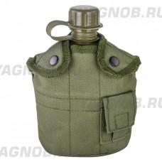 Армейская фляга (фляжка) пластиковая 1 литр,  в камуфлированном чехле с алюминиевым котелком, цвет Олива (Olive)