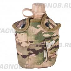 Армейская фляга (фляжка) пластиковая 1 литр, в камуфлированном чехле с алюминиевым котелком, цвет Мультикам (Multicam)
