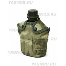 Армейская фляга (фляжка) пластиковая 1 литр,  в камуфлированном чехле с алюминиевым котелком, цвет Атакс, Мох (A-Tacs)