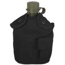 Армейская фляга (фляжка) пластиковая 1 литр,  в камуфлированном чехле с алюминиевым котелком, цвет Черный (Black)