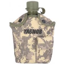 Армейская фляга (фляжка) пластиковая 1 литр,  в камуфлированном чехле с алюминиевым котелком, цвет Цифровой серый (ACUPAT)