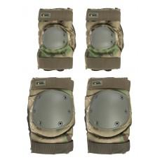 Комплект: Налокотники и Наколенники Gongtex Tactical Protection, арт GK07K, цвет Атакс, Мох (A-TACS FG)