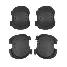Комплект: Налокотники и Наколенники Gongtex Tactical Protection, арт GK04K, цвет Черный (Black)