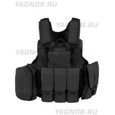 Тактический Разгрузочный Бронежилет с подсумками Tactical Molle Plate Carrier, арт 047, цвет Черный (Black)