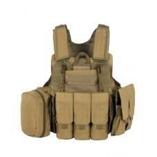 Тактический Разгрузочный Бронежилет с подсумками Tactical Molle Plate Carrier, арт 047, цвет Койот (Coyote)