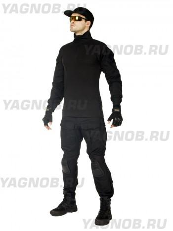Костюм тактический мужской, летний, Gongtex Phantom с защитой локтей и коленей, 100% хлопок, цвет черный