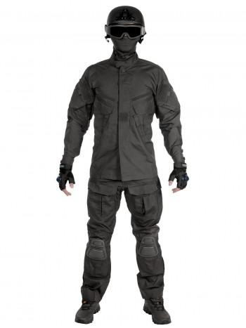 Костюм тактический мужской, летний, Gongtex Alpha с защитой локтей и коленей, цвет Черный (Black)