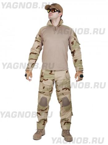 Костюм камуфляжный тактический летний G3 с защитой локтей и коленей, Tactica 762, цвет US 3 Пустыня, US 3 Desert