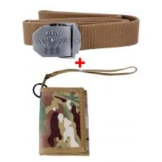 Акционный набор: Ремень тактический нейлоновый + Армейский бумажник, цвет Койот/Мультикам (Coyote/Multicam)