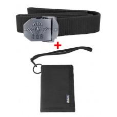 Акционный набор: Ремень тактический нейлоновый + Армейский бумажник, цвет Койот/Черный (Black)