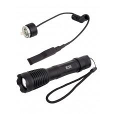 Сверхмощный подствольный тактический фонарь, аккумуляторный, Zoom X 1-2000, арт. MS-838 (АКБ, кронштейн, выносная кнопка и зарядка в комплекте)
