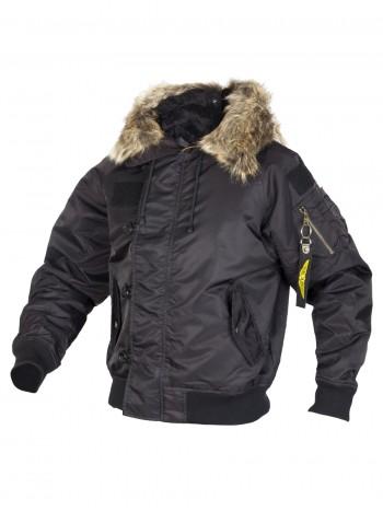 Куртка Пилот (бомбер) мужская с капюшоном, осень-зима 726 Armyfans арт 101, цвет Черный (Black)