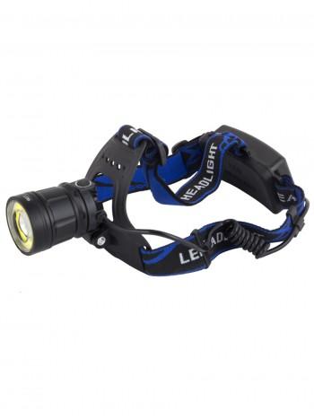 Мощный налобный светодиодный аккумуляторный фонарь HL-907 (2 источника + полный комплект)
