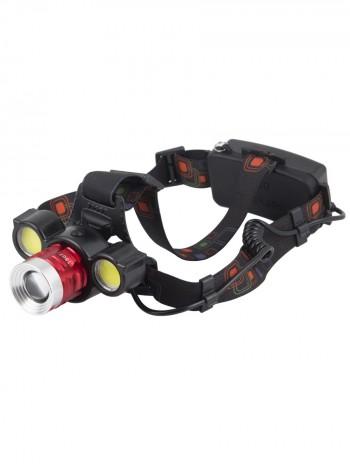 Мощный налобный светодиодный аккумуляторный фонарь HL-1807 (3 источника + полный комплект)