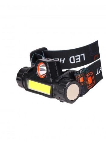 Мощный налобный светодиодный аккумуляторный фонарь HL-101 (2 источника + кабель miniUSB)