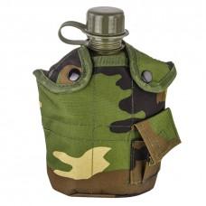 Армейская фляга (фляжка) пластиковая 1 литр,  в камуфлированном чехле с алюминиевым котелком, цвет Вудланд, (Woodland)